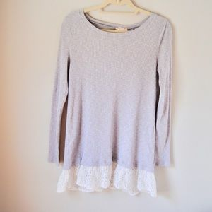 Altar'd State Ribbed Lace Boho Tunic in grey